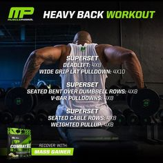 Who's getting ready for bulking season?? If you're looking to put on some serious size, try out this Heavy Back day workout and refuel afterwards with Combat XL Mass Gainer Tag a workout partner who's bulking!! #WeLiveThis #MPNation #RealAthletesRealScience