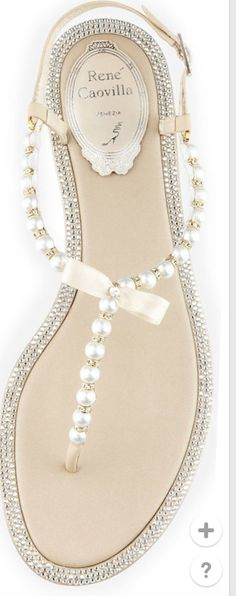 love everything about those rene caovilla. Love the pearls, the bow, the crystals everything. : love everything about those rene caovilla. Love the pearls, the bow, the crystals everything. Guess Shoes, Me Too Shoes, Crazy Shoes, Bridal Shoes, Bridal Sandals, Sandals Wedding, Beach Wedding Footwear, Flat Wedding Shoes, Wedding Flats For Bride