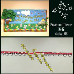 """So this year for my classroom theme i chose pokemon. Hope this helps anyone who has a pokemon theme! The tree, clouds, rock, and vine have a 2D/3D look. The characters i got at Walmart. I added words that make a student a """"master student"""" and laminated them. The words I created on Microsoft Office Word Document! The big pokeballs i found on google images. I added my students names on them with the same color font as all the other letters! ENJOY!"""