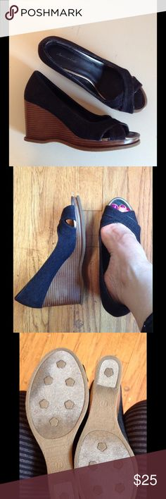 """AMERICAN EAGLE Wedges Dark Denim Peep Toe 7.5 Super chic & trendproof espadrille-inspired cuteness in a rich, inky dark-blue denim. Some light marks on the inner heel (see pic) but unnoticeable on. Seem never worn. 3.5"""" stacked-wood wedge heel w/a 1/2"""" platform in front. Criss-cross adorably over the toes - perfect for showing off that stylish summer pedi! Am tempted to hold onto them & make 'em a key part of my warm-weather fashion uniform!! Save an additional 30% automatically by bundling…"""