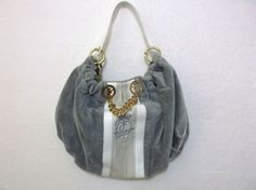 JUICY COUTURE GREY VALOUR HOBO BAG SATCHEL TOTE HANDBAG PURSE $99.99