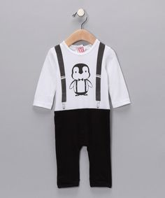 SOOKIbaby Black & White Penguin Playsuit