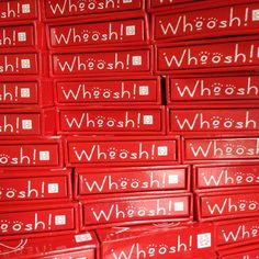 Two boxes of Whoosh! Very exciting. And Very red. Now to get them out to help people ! Birth Partner, Medical Facts, Very Excited, Boxes, How To Get, People, Red, Crates, Box