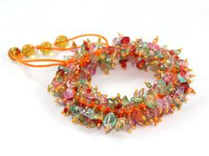 50 OFF  Mixed Color Gemstones Macrame Bracelet by