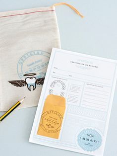 Tooth Fairy certificate which marks the rite of passage of losing a tooth! The kit comes with a drawstring bag, and the certificate itself has a small envelope for the...