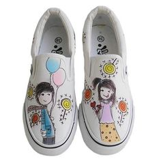 The trend hand-painted canvas shoes, painted shoes, shoes -