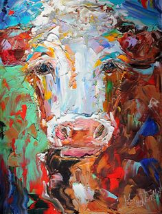 Original Portrait of a Cow palette knife painting by Karensfineart