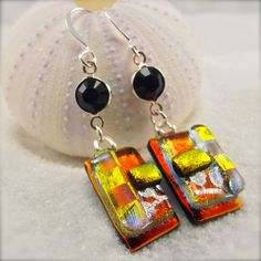 Dichroic Earrings, fused dichroic earrings, dichroic jewelry, fused glass earrings, ruby red earrings, handcrafted, women's dichroic jewelry