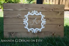 Personalized Monogram Guest Book Alternative Quality Wood Sign Amanda G on Etsy