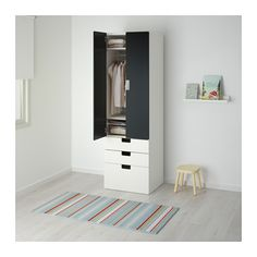 STUVA Kombinacja regałowa z drzw/szuf, biały, czarny biały/czarny 60x50x192 cm