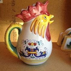 Rooster Pitcher In Ricco Deruta Rooster Kitchen, Kitchen Ware, Ceramic Chicken, Ceramic Rooster, Rooster Decor, Galo, Roosters, Teas, Tea Time