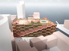 JAJA Architects wins parking garage project in Nordhavn development of Copenhagen proposing a green facade and a rooftop public park.