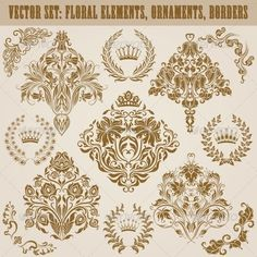 Set of Damask Ornaments — Vector EPS #floral #flower • Available here → https://graphicriver.net/item/set-of-damask-ornaments/6992298?ref=pxcr
