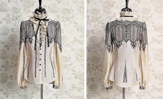 Vintage Ruff Collar Lace Splicing Bow Long Sleeves Women's ShirtVintage Blouses | RoseGal.com