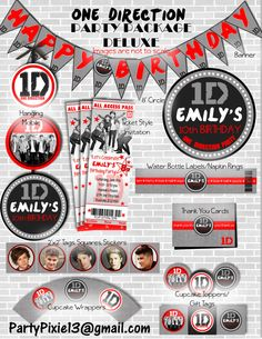 1D One Direction DELUXE Party Package with by PartyPixiePrintables, $25.00
