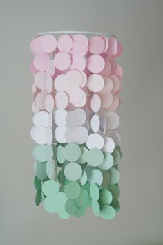 Soft Pink and Mint Paper Crib Mobile by FourGlitteredGeese on Etsy, $38.00