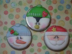 Christmas cookies - penguin, snowman, and Santa Claus