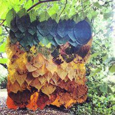 Leaf blanket hanging  Land Art  Alex Birchall