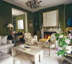 veere+grenney+london+world+of+interiors+006.jpg 690×614 pixels green upholstered walls