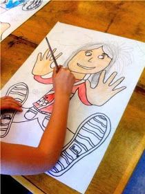 Falling back in Space Portraits! 3rd Grade - trace hands and feet, then free draw the rest.