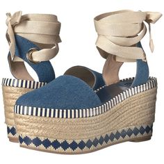Tory Burch Dandy Espadrille Wedge (Blue Denim/Natural) Women's Wedge... (447.420 COP) ❤ liked on Polyvore featuring shoes, sandals, blue, metallic platform sandals, metallic wedge sandals, strap sandals, blue strappy sandals and strappy platform sandals