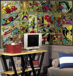 Marvel Classic Comic Giant XL Mural 6.5 x 10 Feet - Wall Sticker Outlet - with wood paneling?