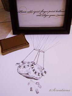 Hand drawn hot air balloon guest book alternative by 1Screations, $45.00
