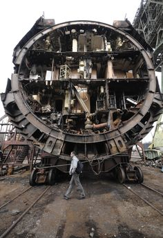 A Russian submarine cut in half