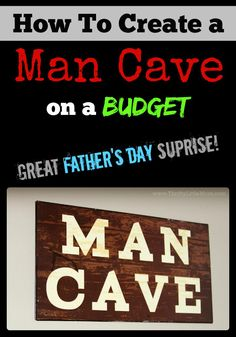 Creating an awesome man cave on a budget.  A man cave makeover could be a perfect gift for a dad or guy in your life from Father's Day to Birthday's.  Guys sometimes need a place to call their own.