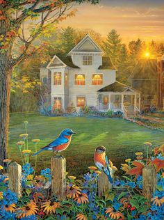 On the Fence is a 1000 piece jigsaw puzzle from SunsOut featuring artwork by Sam Timm.