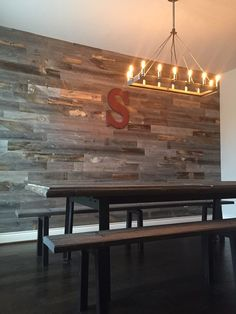 Removable w piece of plywood behind? Srickwood Peel and Stick wood wall paneling Anybody can create a home sweet house, ev. Faux Wood Wall, Stick On Wood Wall, Peel And Stick Wood, Reclaimed Wood Accent Wall, Plank Walls, Wood Panel Walls, Brick Walls, Diy Pallet Wall, Diy Wall