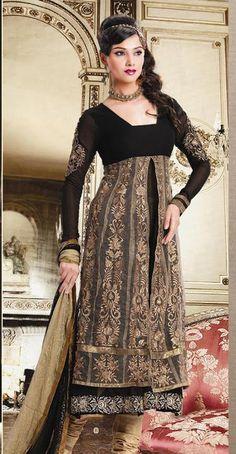 Beige Full Sleeve Georgette Anarkali Salwar Kameez 15817