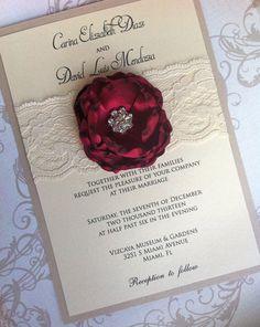 CARINA- Vintage Romance Wedding Invitation with Ivory Lace and Embellished Satin Burned Edge Flower- Customizable