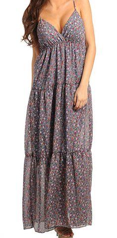 Gray  Flower Long Dress
