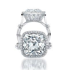 Platinum Cushion-Cut Diamond Ring
