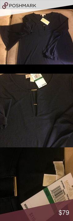 NWT Navy Blue Michael Kors blouse. SZ Large 90% polyester 10% elastanne (spandex). Flows beautifully 😍 Rounded bottom with bell sleeves NWT retail $110 Michael Kors Tops Blouses
