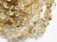 Rutilated Gold Quartz Faceted Pear Beads Gold by gemsforjewels