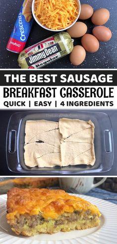 Best Breakfast Casserole, Baked Breakfast Recipes, Crescent Roll Breakfast Casserole, Breakfast Bake, Sausage Breakfast, Breakfast Dishes, Brunch Recipes, Savory Breakfast, Yummy Food