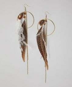 Love this Gold & Brown Tiger Lily Feather Earrings by LOLO by New Dimensions on #zulily! #zulilyfinds