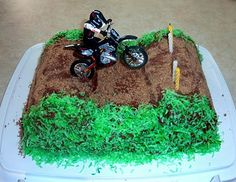 This dirtbike cake has easy to follow instructions, really cute! @Marissa Bourgeois