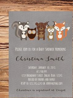 Woodland Baby shower Invitation, Wood land animals, Deer, Fox, Wood, Brown, Owl…