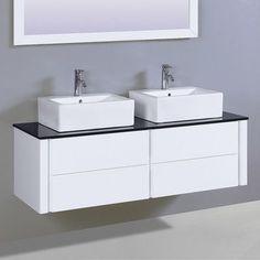 "Legion Furniture 60"" Double Vanity Set with Mirror Base finish: White"