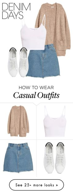 """Casual Denim"" by bonnieberte on Polyvore featuring H&M, BasicGrey, Prada and denimskirts"