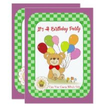 Cute Bear And Balloons Children's Birthday Party Card