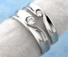 Matching Heart Promise Rings for Couples Half Heart Puzzled Piece in Sterling Silver