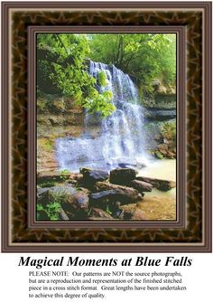 Magical Moments at Blue Falls, alluring landscapes counted cross stitch patterns, designs, charts, kits