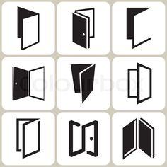 Stock vector of 'vector door icons set' . Stock vector of 'vector door icons set' Mais Stock vecto Graphic Design Fonts, Branding Design, Icon Design, Design Art, Library Icon, Real Estate Logo Design, Book Logo, Home Icon, Logo Concept