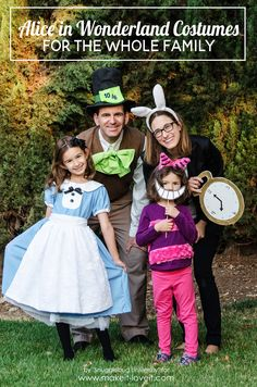 Learn how to create these Alice in Wonderland Costumes for the whole family with these step by step tutorials. They are easier than you think! | via www.makeit-loveit.com