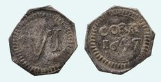"Charles I (1625-1649), Sixpence, 1647, Cork, Southern City of ""Refuge"" issue, octagonal silver flan, CORK 1647 in two lines, toothed border surrounding, rev VI mark of value within toothed border, 2.18g (DF 329; Nelson fig 90; S 6561A). Toned, very fine and very rare. According to Nelson this coinage was struck during the stay of Murrough O'Brien, 6th Baron and Lord Inchiquin (1618-1674), in May 1647 Baron, Flan, Cork, Cities, Southern, Silver, Shapes, Coining, Pudding"