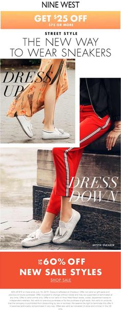 Pinned July 15th: $25 off $75 at #NineWest ditto online #TheCouponsApp